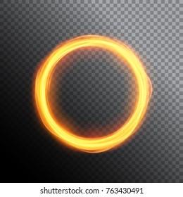 Magic gold circle light. Round neon frame. Burning light lines of ring.