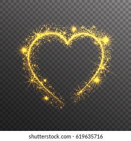 Magic Gold Glitter Stars Sparkles heart on transparent background. Valentine's Day Symbol. Love and Feelings Design.Vector Illustration.