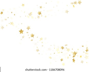 Magic gold sparkle texture vector star background. Bright gold falling magic stars on white background sparkle pattern graphic design. Christmas starlight poster backdrop.
