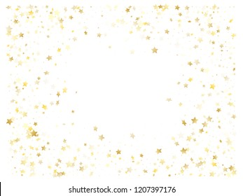 Magic gold sparkle texture vector star background. Twinkle gold falling magic stars on white background sparkle pattern graphic design. Holiday tinsels flying backdrop.
