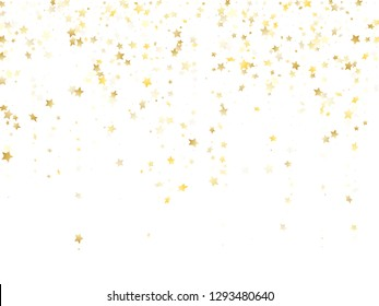 Magic gold sparkle texture vector star background. Glowing gold falling magic stars on white background sparkle pattern graphic design. Party starburst fireworks backdrop.