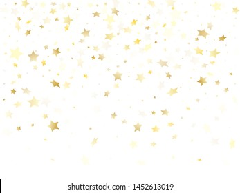Magic gold sparkle texture vector star background. Decorative gold falling magic stars on white background sparkle pattern graphic design. Christmas starlight banner backdrop.