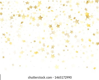 Magic gold sparkle texture vector star background. Chic gold falling magic stars on white background sparkle pattern graphic design. Party tinsels scatter flying backdrop.