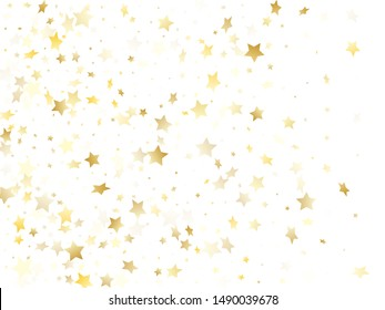 Magic gold sparkle texture vector star background. Beautiful gold falling magic stars on white background sparkle pattern graphic design. Party starburst flying backdrop.