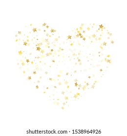 Magic gold sparkle texture vector star background. Vintage gold falling magic stars on white background sparkle pattern graphic design. New Year starlight poster backdrop.