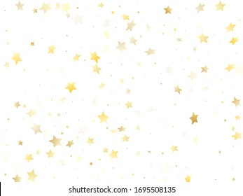 Magic gold sparkle texture vector star background. Trendy gold falling magic stars on white background sparkle pattern graphic design. Christmas starlight poster backdrop.