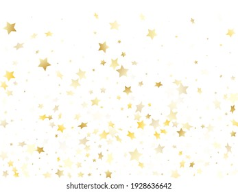 Magic gold sparkle texture vector star background. Beautiful gold falling magic stars on white background sparkle pattern graphic design. New Year tinsels scatter flying backdrop.