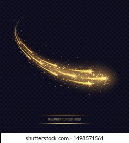 Magic golden stars light effect isolated on transparent background. Luminescent meteors with bright bokeh and sparkles. Vector illustration.