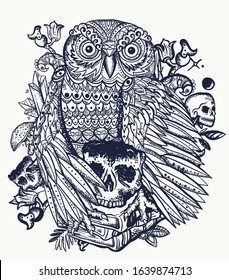 Magic gothic owl bird and stack of books. Education concept. Esoteric tattoo style. Fairy tale art