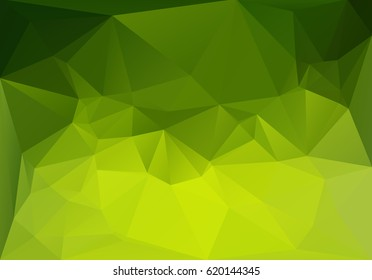 Magic green background. Low polygonal vector horizontal illustration. Low-poly abstract triangle backdrop. Summer greenish colors decoration.