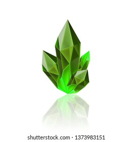 Magic Green Crystal with Sparkle. Decoration icon for Games. Cartoon crystals Illustration. Stone Healing Energy on White Background