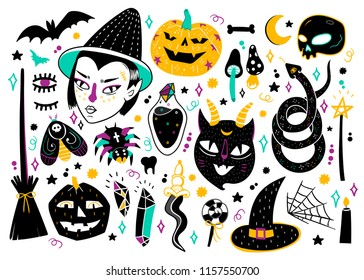 Magic Halloween objects. Hand drawn colored vector set. All elements are isolated