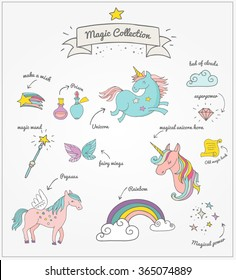 Magic hand drawn set - unicorn, rainbow and fairy wings