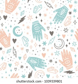 Magic hands and crystals. Hand drawn seamless pattern