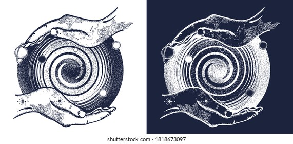 Magic hands and universe, black hole tattoo and t-shirt design. Universe symbol, space travel, house of mankind. Black and white vector graphics