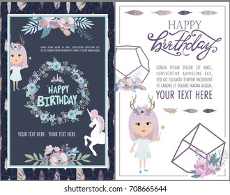 Magic Happy birthday greeting cards with unicorn and mystic girls. Editable vector illustration