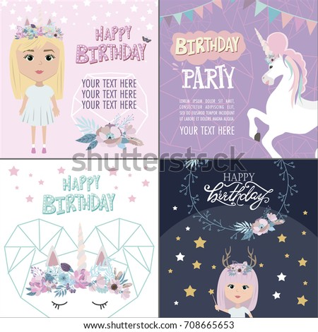 Magic Happy Birthday Greeting Cards With Unicorn And Mystic Girls Editable Vector Illustration