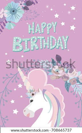 Magic Happy Birthday Greeting Cards With Unicorn Editable Vector Illustration