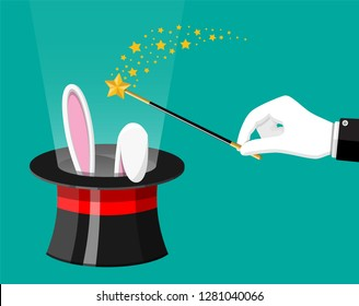 Magic hat with easter bunny ears and wizard wand. Illusionist hat with rabbit and stick. Circus, magical show, comedy. Vector illustration in flat style