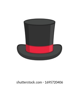 Magic hat icon isolated on white background. Black cylinder hat with red ribbon. Retro tophat in flat style. Vector illustration EPS 10.