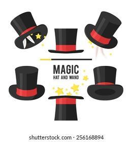 Magic hat set. Vector illustration.