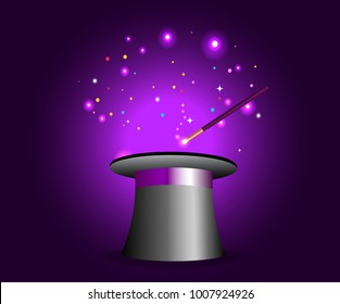 Magic hat with wand on violet mysterious background with sparkling lights. Vector magician perfomance. Wizzard illusionist show. Vector illustration.