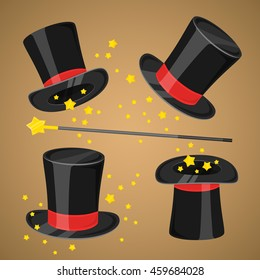Magic hat and magic wand with sparkles wizard trick concept vector illustration.