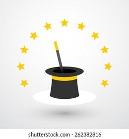 The Magic hat and magic wand with stars