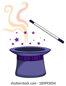 Magic hat, and a wand, vector illustration