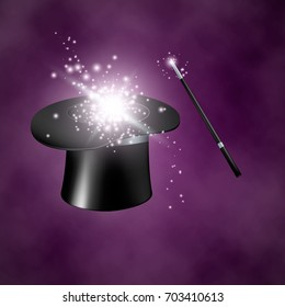 Magic hat and wand. Vector illustration on purple background with smoke