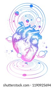 Magic heart in space tattoo. Symbol of love, philosophy, psychology, imagination, dream. Surreal heart t-shirt design. Anatomic heart among galaxies and planets