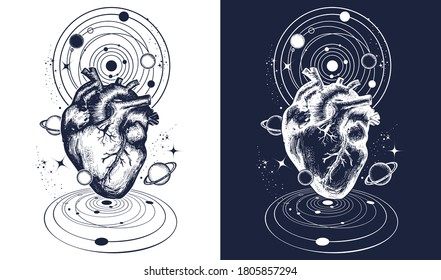 Magic heart in space tattoo. Symbol of love, philosophy, psychology, imagination, dream and poetry t-shirt design. Black and white vector graphics