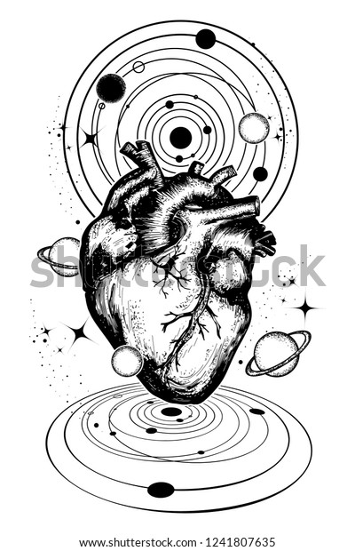 Magic Heart Space Tattoo Symbol Love Stock Vector (Royalty Free