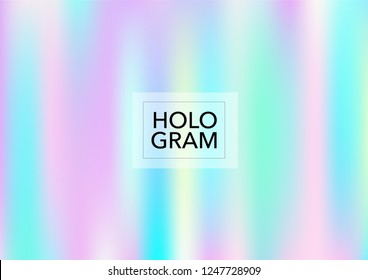 Magic Hologram Lights Vector Background. Luxury Trendy Tender Pearlescent Color Overlay. Rainbow Holographic Princess, Fairytale, Cute Girlie Paper. Unicorn Magic Funky Teal, Hologram Gradient