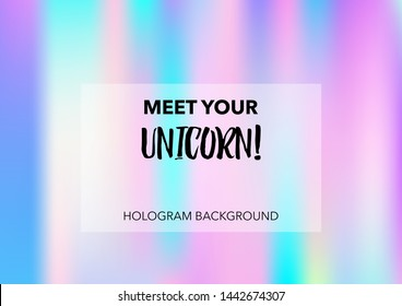 Magic Hologram Lights Vector Background. Luxury Trendy Tender Pearlescent Color Overlay. Rainbow Holographic Princess, Fairytale, Cute Girlie Paper. Unicorn Fairy Tale Tech Hologram Gradient