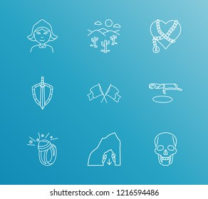 Magic icon set and dungeon with red riding hood, weapons and magic ring. Sand dunes related magic icon vector for web UI logo design.