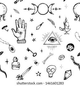 Magic items collection. Witchcraft signs and objects set for ritual. Wiccan symbols. Hand drawn doodle seamless vintage pattern design on white background.
