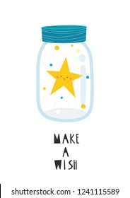 Magic jar with a star inside. Vector illustration with the inscription Make a wish. Perfect for Christmas greeting cards design.