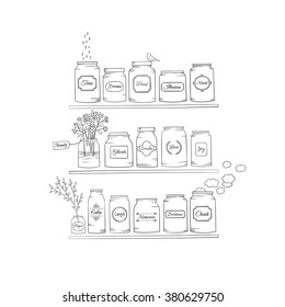Magic jars.Graphic illustration.