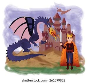 Magic king and dragon, vector illustration