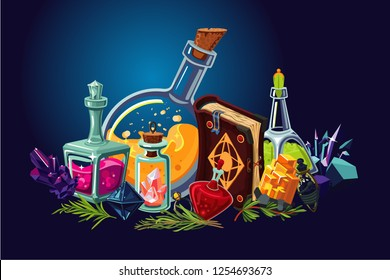 Magic lab with fantasy objects. Cartoon background with alchemy objects. Elixirs and beakers.