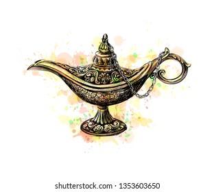 Magic lamp with Eid Mubarak celebration. Vector illustration