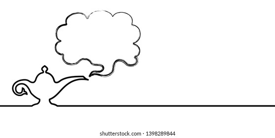 Magic lamp speech bubble smoke Vector Alladin oil lamp silhouette Abstract border from a smoke pulled out from genie magic lamp lantern fairytale cloud Alladins Tea pot Aladin genie as Arabian miracle