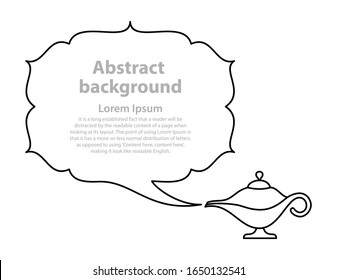 Magic lamp speech bubble smoke vector Aladdin oil lamp silhouette Abstract border of smoke pulled from a genie