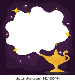 Magic Lamp. Vector genie magic aladdin lamp  and white smoke. Aladdin golden lantern with dark purple background.vector