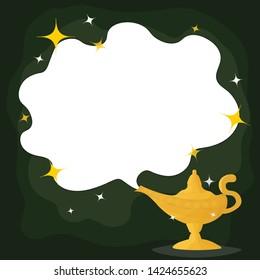 Magic Lamp. Vector genie magic aladdin lamp  and white smoke. Aladdin golden lantern with dark green background.vector