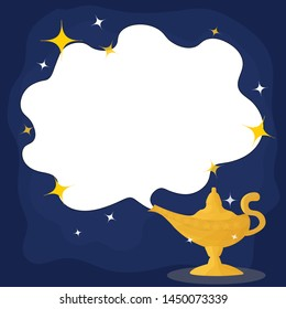 Magic Lamp. Vector genie magic Aladin lamp white smoke and star. Aladin golden lantern with dark blue background.vector
