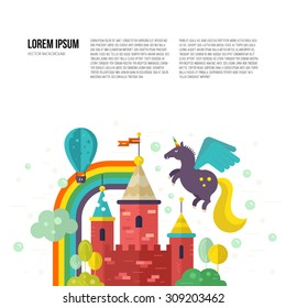 Magic landscape with fairytale castle, unicorn, rainbow and trees. Creative thinking or imagination concept. Vector template with place for your text.
