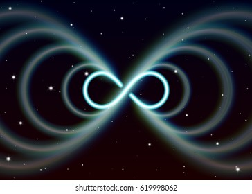 Magic lemniscate symbol, infinity or sideways eight spreads the mystic energy in spiritual space