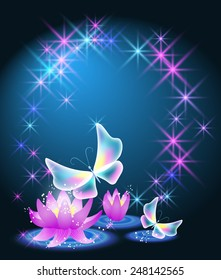 Magic lilies with glowing stars and fairytale butterflies